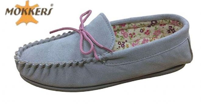 Ladies Real Suede Leather Moccasin with Hard-wearing Sole  GREY